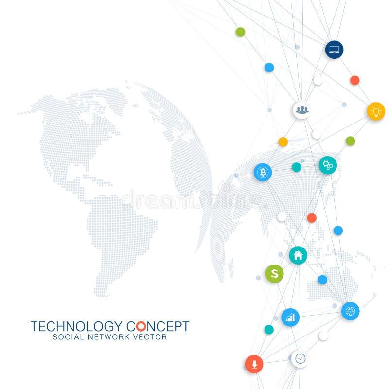 Abstrakt infographic affärsvektor Fördunkla designen för begreppet för anslutningar för det beräknande och globala nätverket Vete stock illustrationer