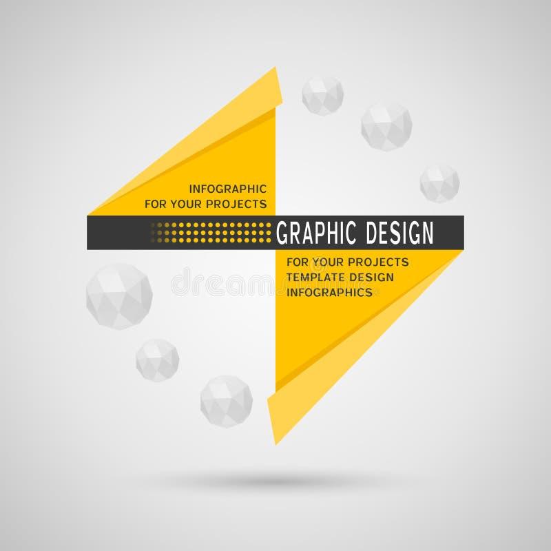 Abstrakt infographic design med geometriska beståndsdelar royaltyfri illustrationer