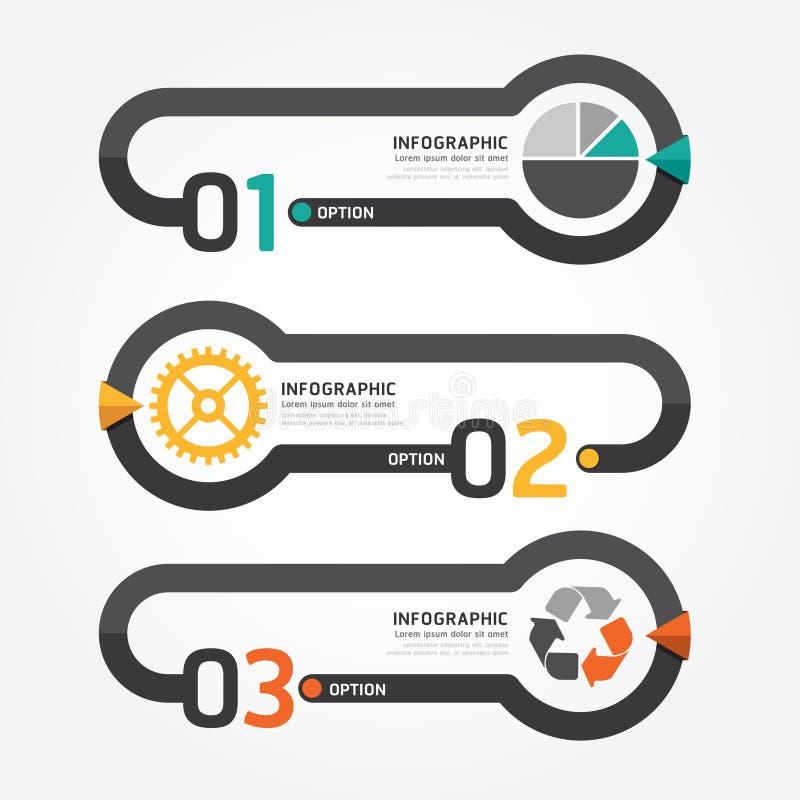 Abstrakt infographic linje digital designillustration för mall vektor illustrationer