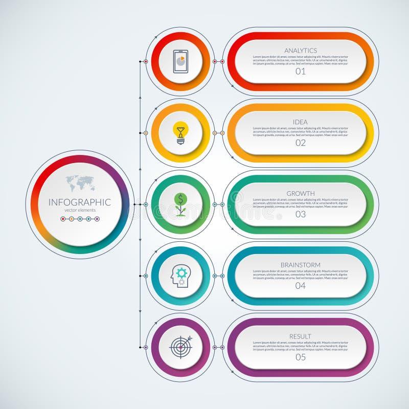 Abstrakt infographic mall med 5 alternativ royaltyfri illustrationer