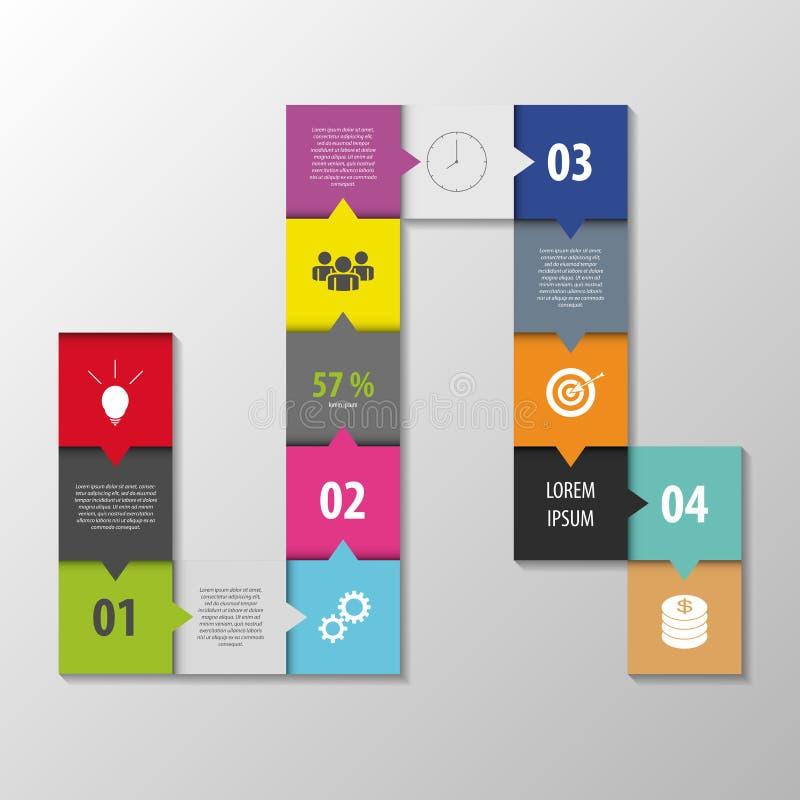 Abstrakt infographic vektor fyrkantstilmall stock illustrationer