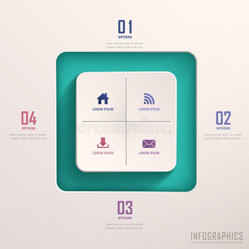 Abstrakt infographics för fyrkant 3d stock illustrationer
