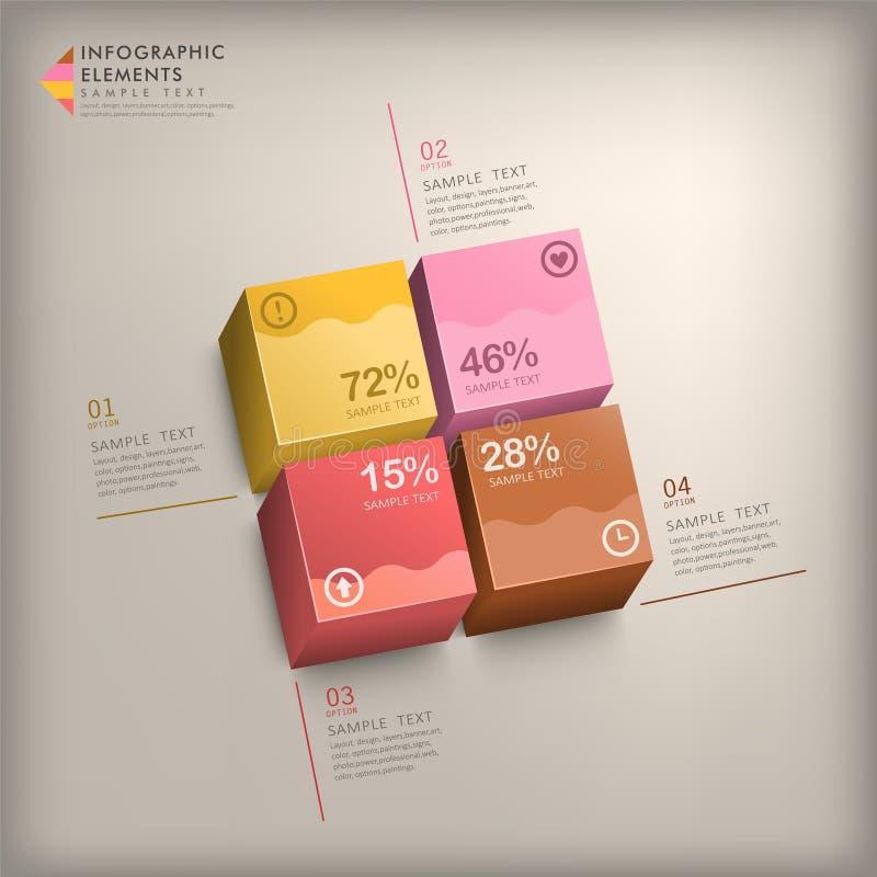 Abstrakt infographics för kub 3d royaltyfri illustrationer