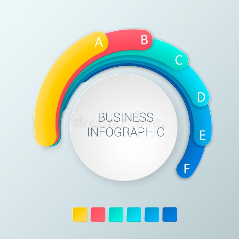 Abstrakt infographicsalternativmall med 6 alternativ Kan användas för diagrammet, rengöringsdukdesignen, affärsmomentalternativ stock illustrationer
