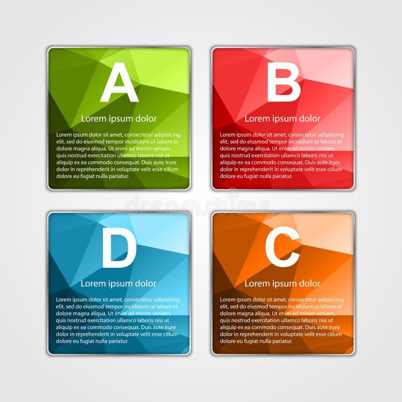 Abstrakt infographicsmall för fyrkant 3d vektor illustrationer