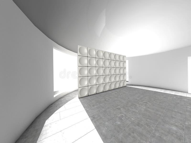Abstrakt inomhus futuristic akustisk vägg royaltyfri illustrationer