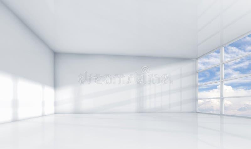 Abstrakt inre för vit 3d, tomt kontorsrum royaltyfri illustrationer