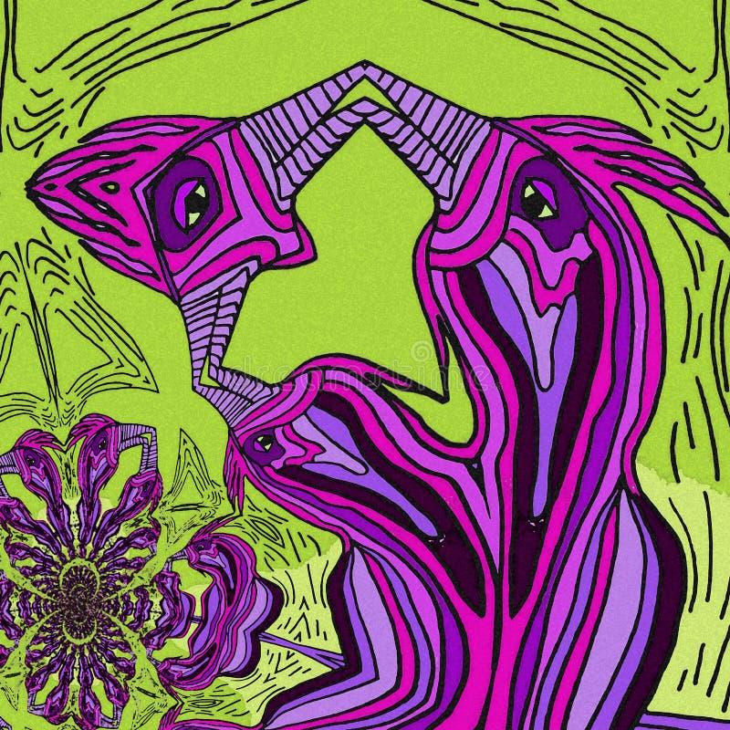 Abstrakt inspiration i fåglar Violetta och gröna färger vektor illustrationer