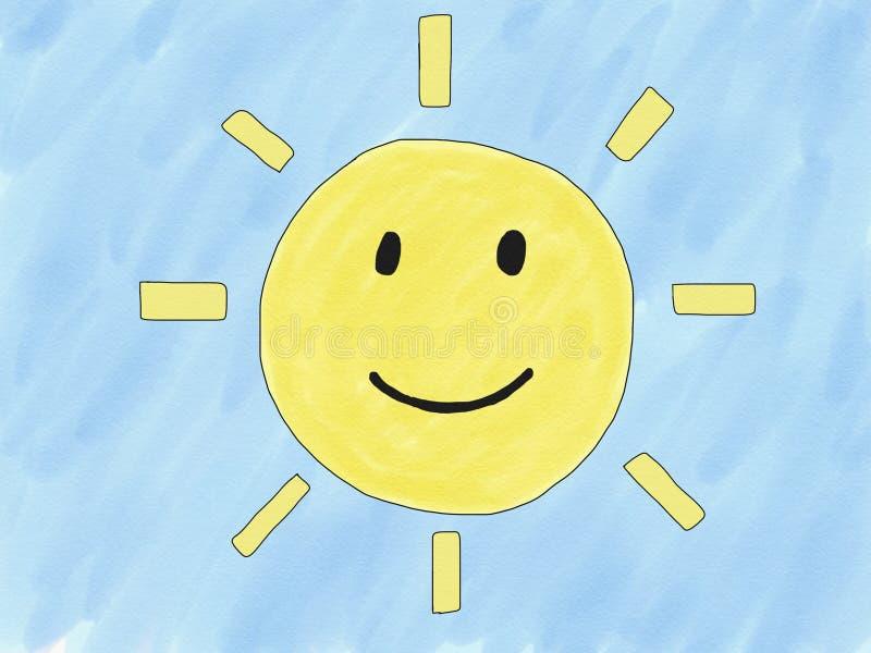Abstrakt isolat för leende för sol för handattraktionklotter på blå bakgrund, illustration, kopieringsutrymme för text, vattenfär royaltyfri illustrationer