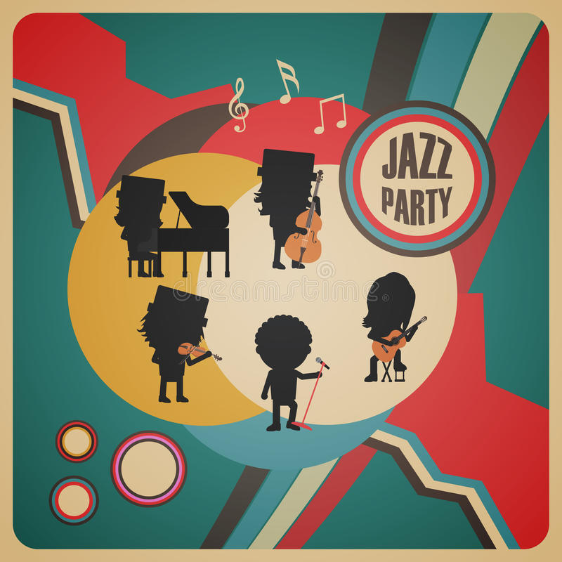 Abstrakt jazzbandaffisch stock illustrationer