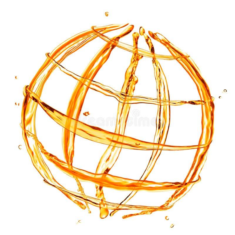Abstrakt jordklot från orange vatten vektor illustrationer