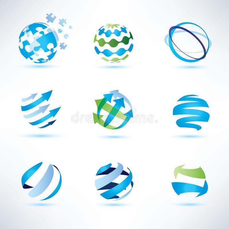 Abstrakt jordklotsymboluppsättning, kommunikation och teknologisymboler stock illustrationer