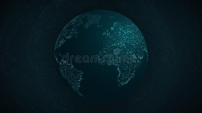 abstrakt jordplanet Blå översikt av jorden från de fyrkantiga punkterna Stranda av hår vänder mot in blått glöd Tekniskt avancera royaltyfri illustrationer