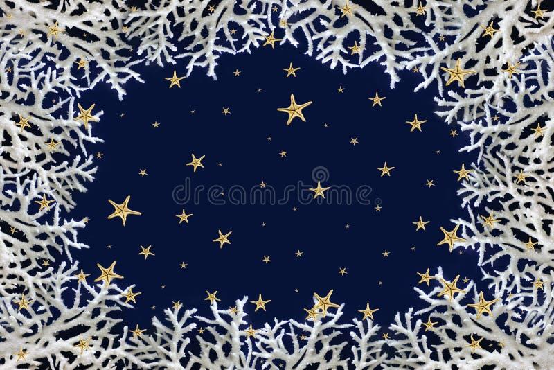 Abstrakt jul övervintrar bakgrund som göras av vita koraller och sjöstjärnasnöflingor mot mörker - blå bakgrund fotografering för bildbyråer