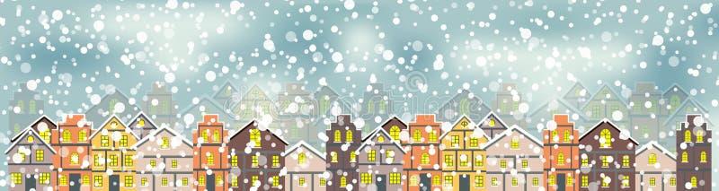 Abstrakt jul och nytt år med sagolik husbakgrund vektor illustrationer