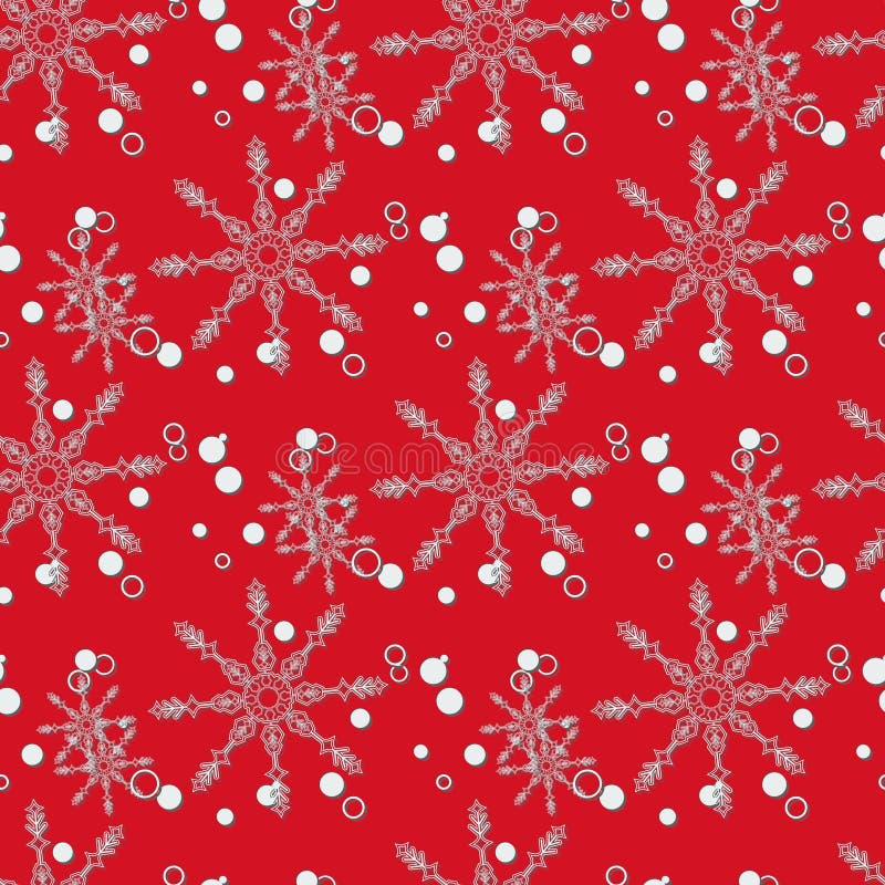 Abstrakt jul och nytt år som är sömlösa på röd bakgrund Snöflingamodell för illustrationsköld för 10 eps vektor arkivbild
