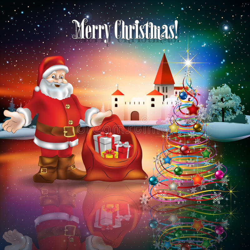 Abstrakt jul som hälsar med konturn av slotten royaltyfri illustrationer