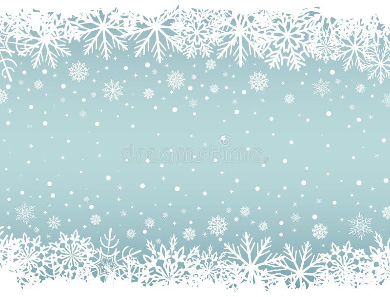 Abstrakt julbakgrund med vita snöflingagränser stock illustrationer