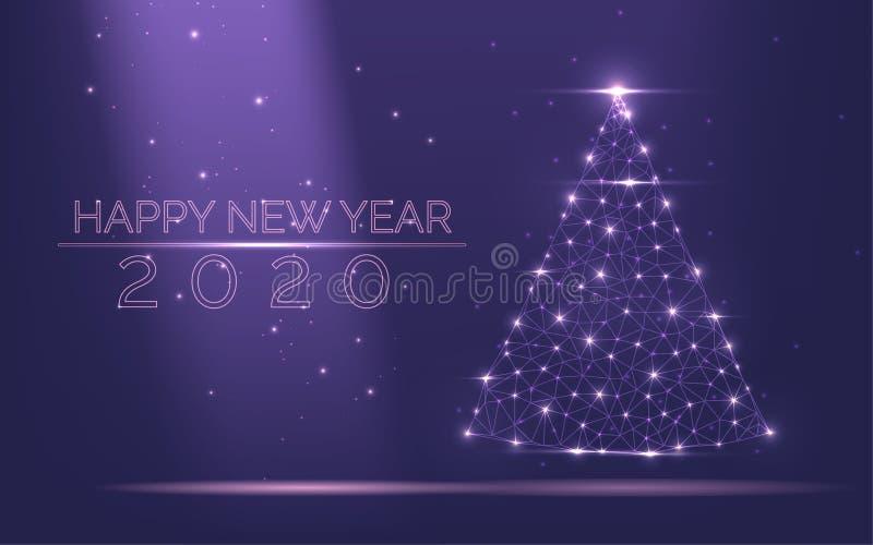 Abstrakt julgranram 2020 av ljust ljus från populär purpurfärgad bakgrund för partiklar Symbol av det lyckliga nya året som är gl vektor illustrationer