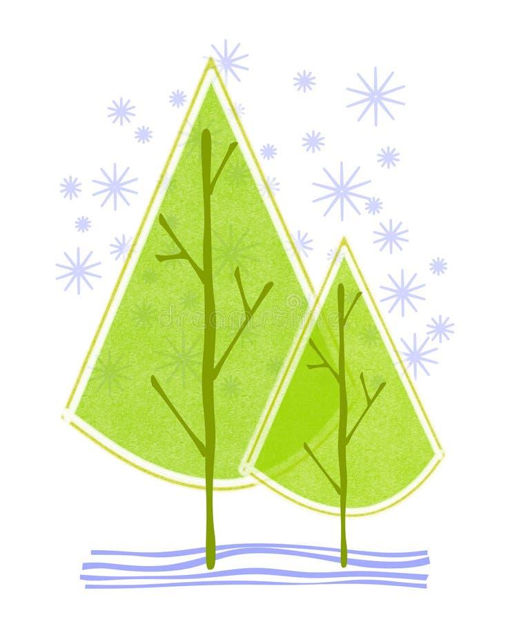 abstrakt julsnowtrees royaltyfri illustrationer