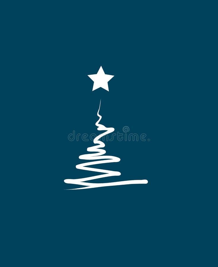 Abstrakt julträd över blå bakgrund Plan symbol Ren design gears symbolen vektor illustrationer