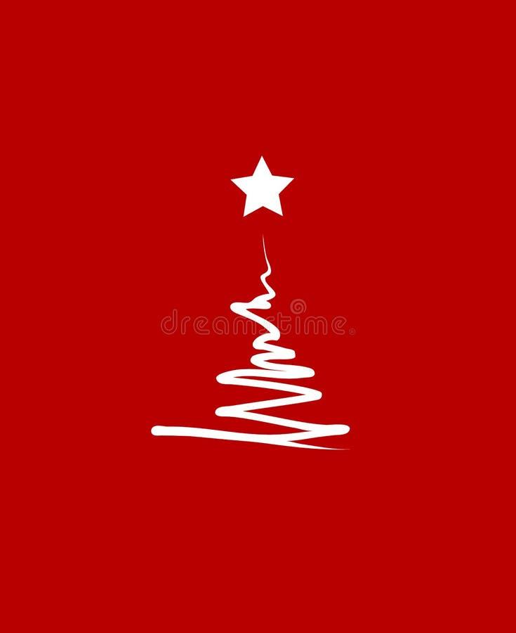 Abstrakt julträd över röd bakgrund Plan symbol Ren design gears symbolen stock illustrationer