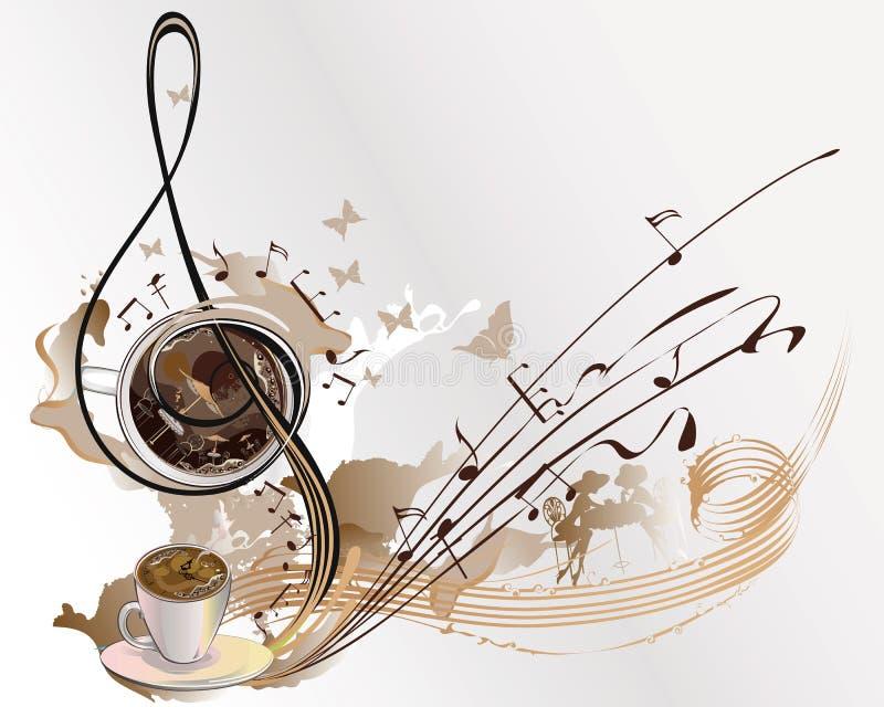 Abstrakt kaffemusik med koppar kaffe stock illustrationer