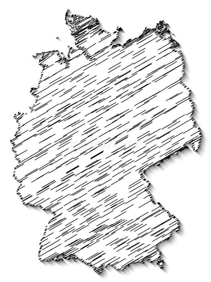 Abstrakt kaotisk översikt av Förbundsrepubliken Tyskland med skugga som isoleras på vit bakgrund stock illustrationer