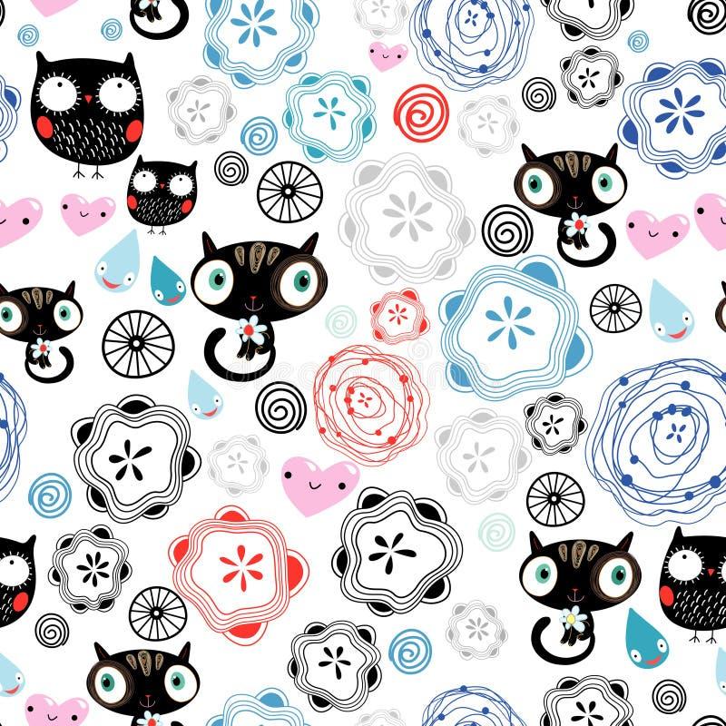 abstrakt kattungeowlsmodell stock illustrationer