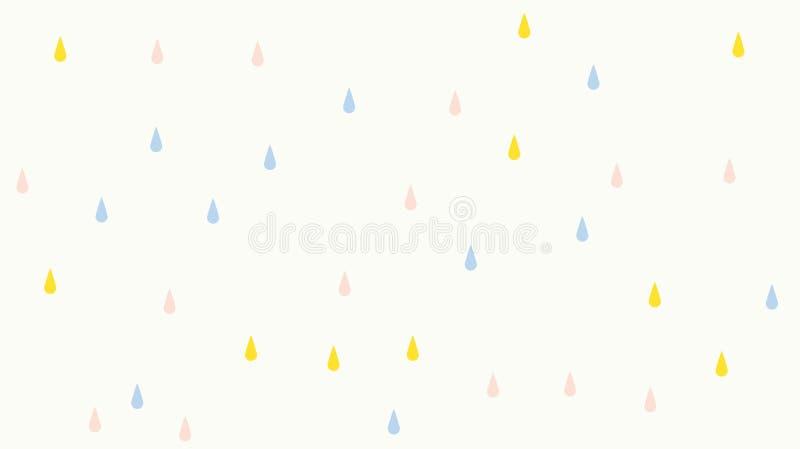 Abstrakt kawaiiregn tappar färgrik bakgrund Pastellfärgat komiskt diagram för mjuk lutning Begrepp för bröllopkortdesign eller arkivfoto