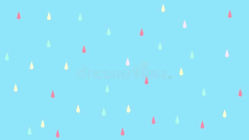 Abstrakt kawaiiregn tappar färgrik bakgrund Pastellfärgat komiskt diagram för mjuk lutning Begrepp för bröllopkortdesign eller fotografering för bildbyråer