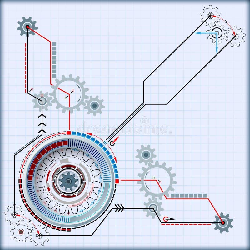Abstrakt kinematics för datordiagram av den futuristiska teknologiska apparaten royaltyfri illustrationer