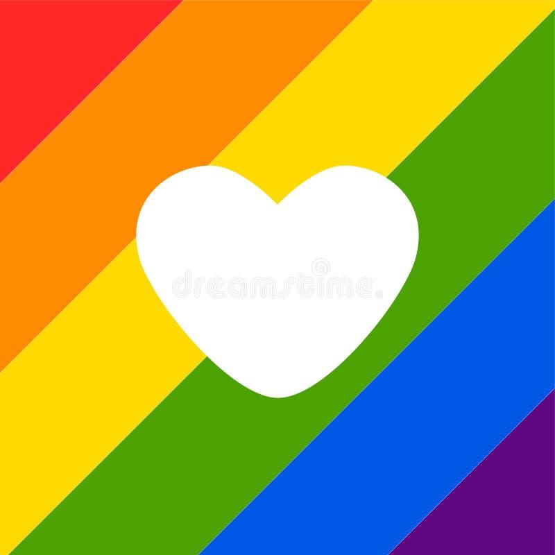 Abstrakt klottermodell för vektor Utdragen hjärtastolthet för hand, förälskelse, fred med regnbågen Glat ståta slogan LGBT-rättsy stock illustrationer