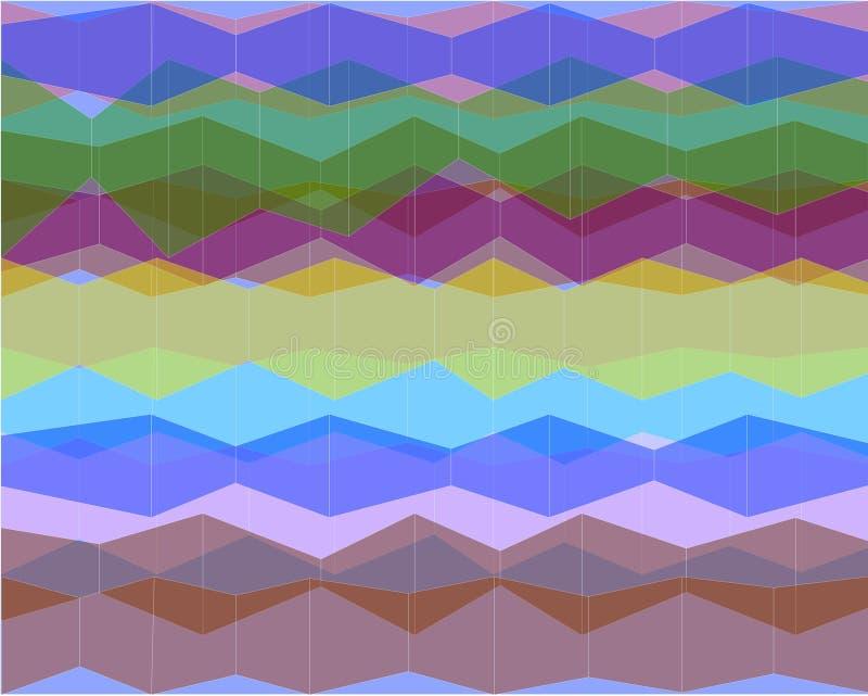 Abstrakt klunga av genomskinliga kulöra former I den total- bilden bildas vita vertikala linjer royaltyfri illustrationer