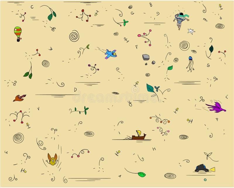 Abstrakt klunga av olika tecken och växter Bland dem är en astronaut, en segelbåt, en nivå arkivfoton