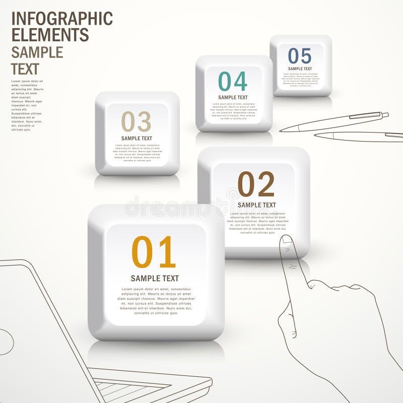 Abstrakt knappinfographics vektor illustrationer