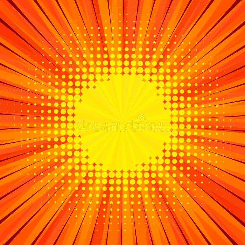 Abstrakt komisk orange bakgrund för design för stilpopkonst royaltyfri illustrationer