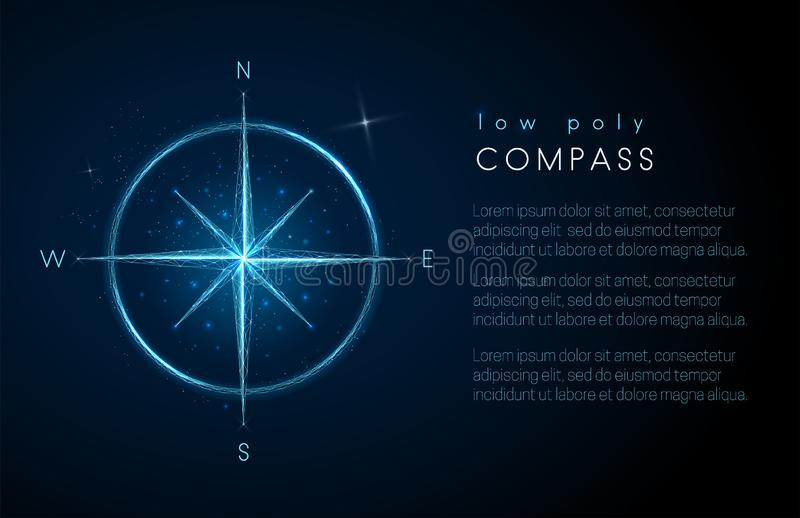 Abstrakt kompasssymbol L?g poly stildesign royaltyfri illustrationer