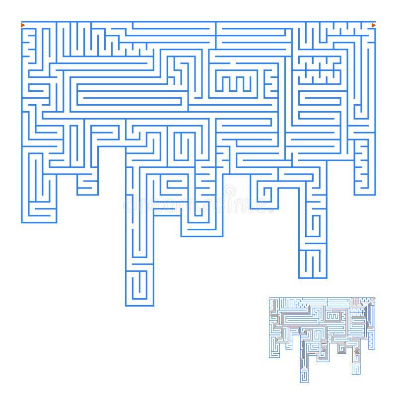 Abstrakt komplex labyrint En intressant lek för barn och vuxna människor Enkel plan vektorillustration som isoleras på den vita b stock illustrationer