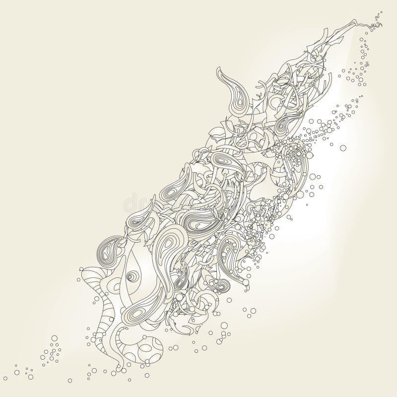 abstrakt komplicerad konstruktionsmodell stock illustrationer