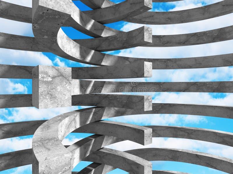 Download Abstrakt Konkret Arkitektur På Himmelbakgrund Stock Illustrationer - Illustration av design, fast: 78729146