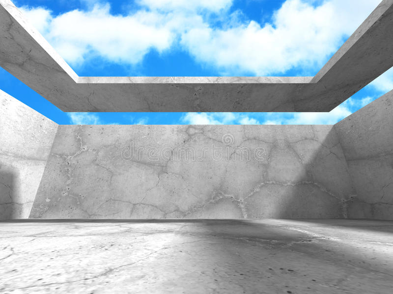 Download Abstrakt Konkret Arkitektur På Himmelbakgrund Stock Illustrationer - Illustration av celling, grått: 78729167