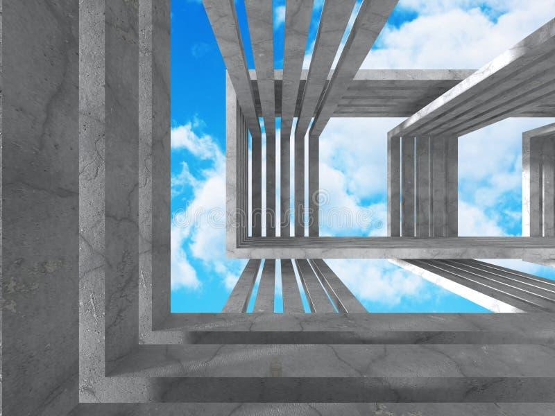 Download Abstrakt Konkret Arkitektur På Himmelbakgrund Stock Illustrationer - Illustration av exponerat, perspektiv: 78730030