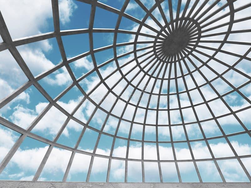 Abstrakt konkret arkitektur på molnhimmelbakgrund stock illustrationer