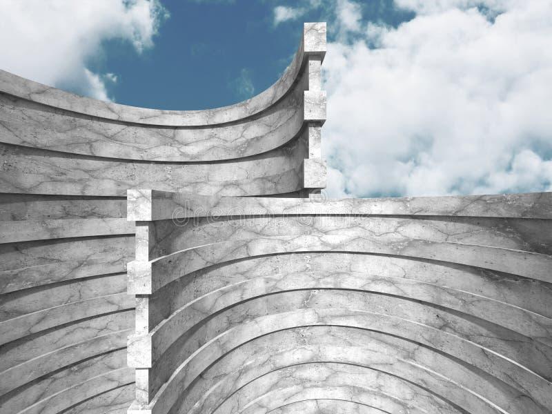 Download Abstrakt Konkret Arkitektur På Molnhimmelbakgrund Stock Illustrationer - Illustration av cement, mörkt: 78729156