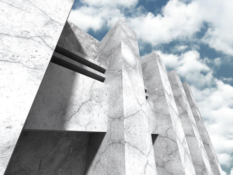 Download Abstrakt Konkret Arkitektur På Molnhimmelbakgrund Stock Illustrationer - Illustration av hörn, idérikt: 78729423