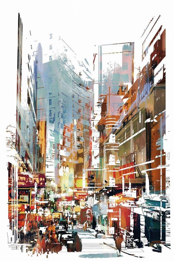 Abstrakt konst av cityscape royaltyfri illustrationer