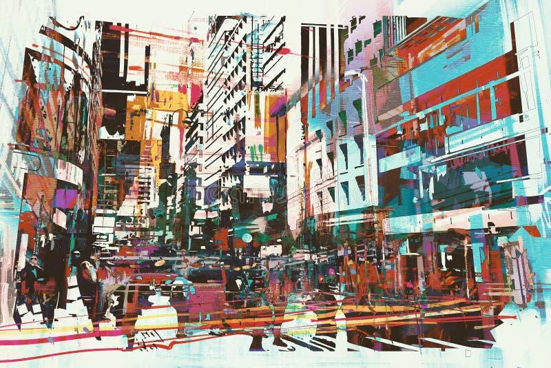 Abstrakt konst av cityscape vektor illustrationer
