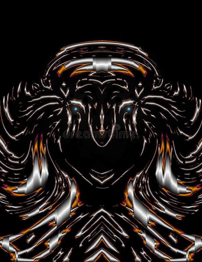Abstrakt konst: Elektrisk skörd för neonTiger Warrior prinsessa av ögonen royaltyfri bild