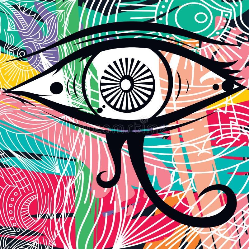 Abstrakt konst för Horus öga stock illustrationer